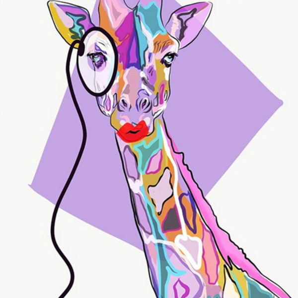 Actu Bistrot des Optimistes - Oeuvre Artiste - Girafe coloré